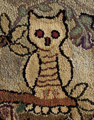 owl hooked rug