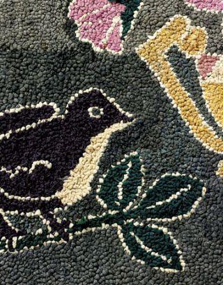 blackbird hooked rug