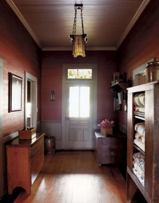 red wood entryway