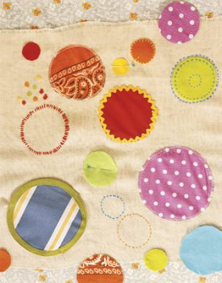 fabric with several polka dots with different patterns