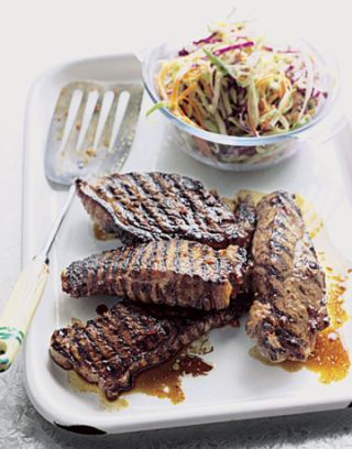 flame broiled spiced steak.