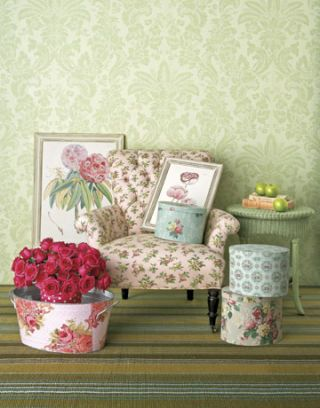 floral chair hat boxes and paintings