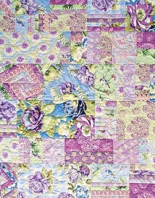 purple floral front throw quilt