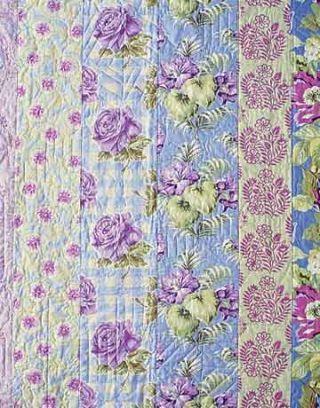 purple floral patchwork quilt