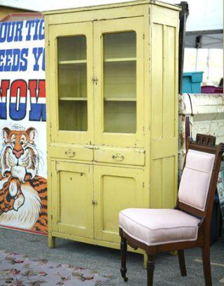 yellow china cabinet