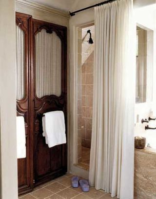 ivory cotton shower curtain
