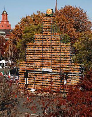 tower of pumpkins
