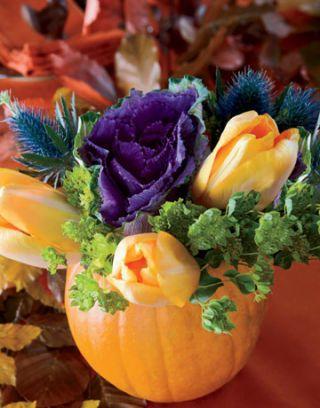 Pumpkin Vase Using A Pumpkin As A Flower Vase