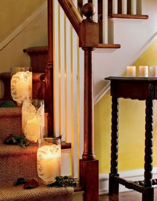 candles on stairs