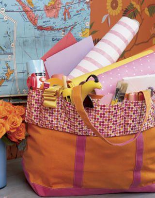 orange and pink tote bag