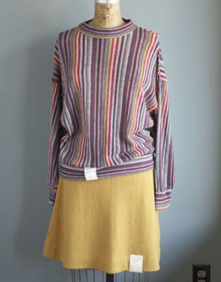single stripe smocked shirt and orange a line skirt