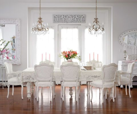 An All-White Dining Room