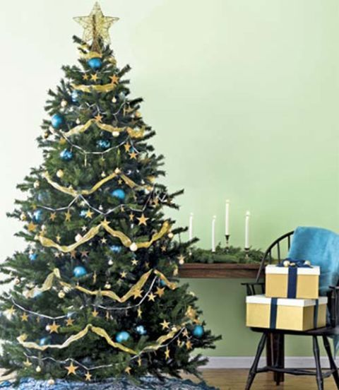 aluminum christmas tree - Blue And Gold Christmas Tree