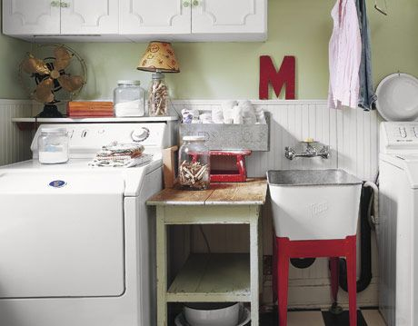 Cheery Green, Red, and White Laundry Room With Decorative Touches
