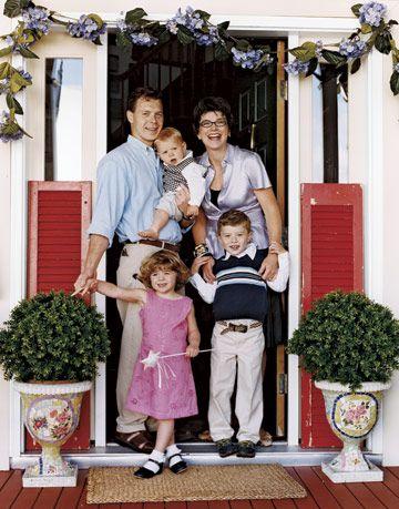 family at front door