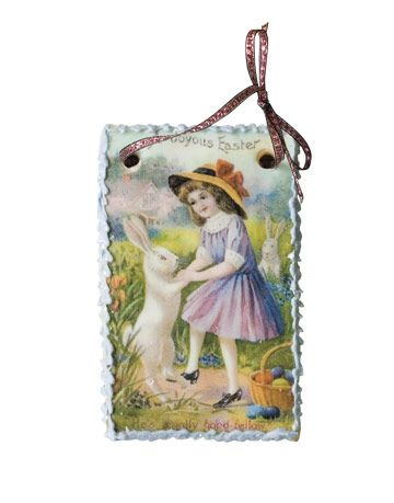 Antique Easter Postcard Reproduced on Edible Sugar Cookie Ornament