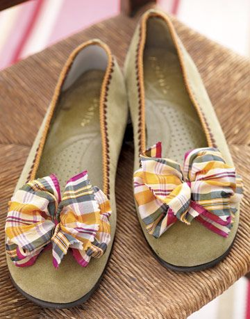 shoes with ribbons on them