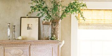 Linen covered chair and bench