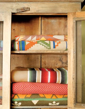 blankets in a cupboard