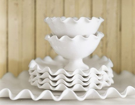 White ceramic bowls and plates