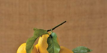 fresh lemons in a serving dish on a yellow napkin