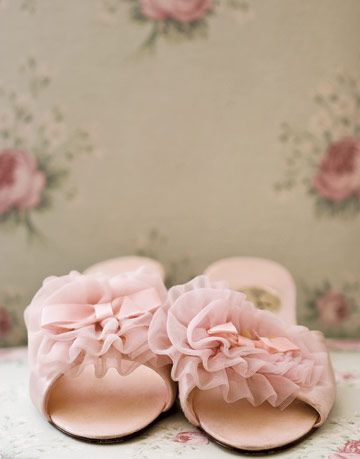 pink slippers with tulle