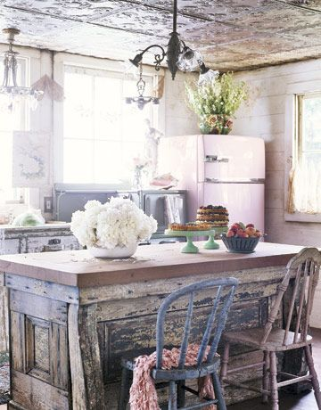 Lovely Salvaged Island In Newly Built Kitchen