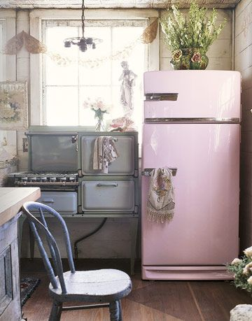 Pink refrigerator and gas stove