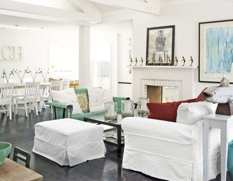 white living room with colorful accents