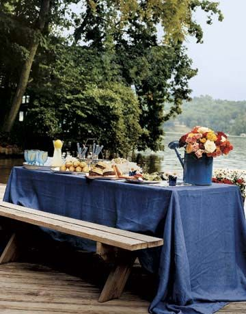 Picnic Bench with Blue Table Cloth