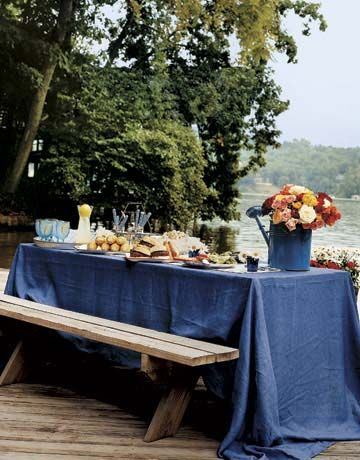 Picnic Bench with Blue Table Cloth & Outdoor Party Decoration Ideas - Summer Party Decorating