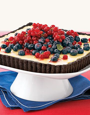 square chocolate tart with custard filling and red and blue berries