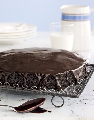 chocolate cake drizzled with chocolate frosting