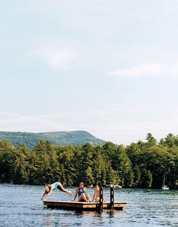 girls swimming at lake george