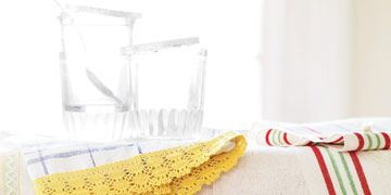 towels with colorful crochet trim
