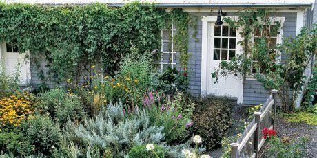 Cedar pickets enclose the garden