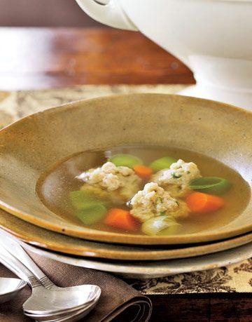 buttermilk chicken dumpling soup in a bowl