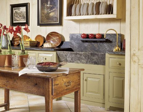 rustic cottage kitchen with soapstone sink
