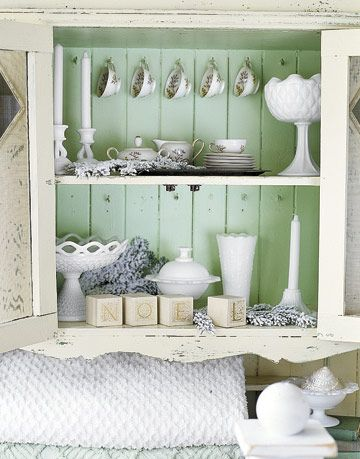 White Table Settings in Kitschy Green Cabinet