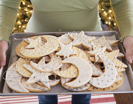 tray of moon and star shaped cookie ornaments