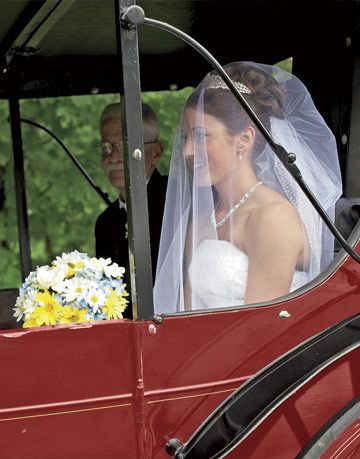 bride in red horse drawn carriage