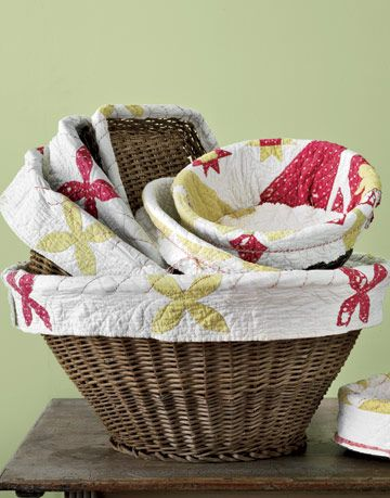 stacked fabric lined baskets
