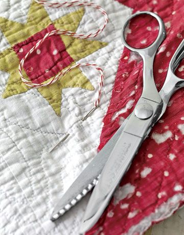 scissors fabric and string