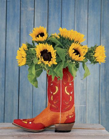 red cowboy boot with flowers