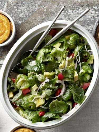 brussels sprouts red pepper and avocado salad