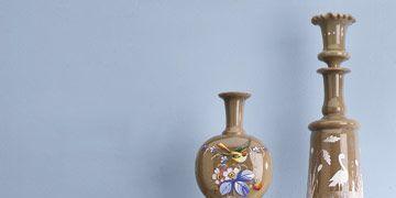 various light brown bristol glass pieces with floral and bird motifs