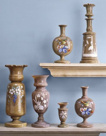 various light brown bristol glass pieces with floral and bird motifs