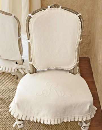 chair with monogrammed slipcover