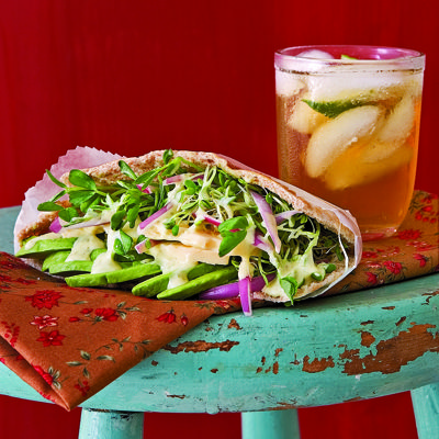 avocado cheddar and sprouts pockets with tangy lime mayo