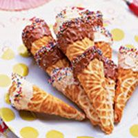 chocolate and candy coated waffle cones